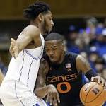 Jones keys No. 18 Duke's 70-58 win over Miami
