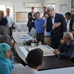 Kerry meets with Syrian refugees at camp in Jordan