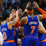 Melo plays, leads Knicks to rare win over Celtics