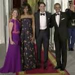 Michele Obama and Sophie Grégoire-Trudeau team up to hail Canadian fashion at the state dinner.