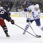 Bernier has 28 saves, lifts Leafs past Jackets 4-1