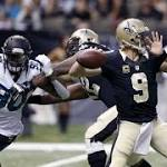 Brees sharp despite foot injury, Saints beat Jaguars 38-27