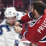 Canadiens' Prust shows frustration in Game 2 loss to Lightning