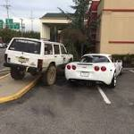 Corvette takes up two parking spaces but see what 'Zombie Response' Jeep does