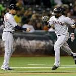 Late Indians homer tops A's in pitchers' duel