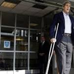 Secretary of State John Kerry Emerges From Hospital on Crutches