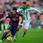 Suarez finally scores, Messi nets 2 in Barca win