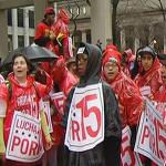 Fast Food Workers Protest Low Wages During Morning Commute