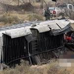 10 Are Killed When Prison Bus Slides Off Highway and Hits Train