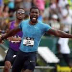 Gatlin throws down gauntlet with best 200m time