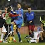 Drone with flag results in fracas at Albania-Serbia game