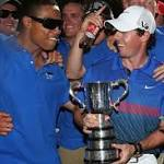 Rory McIlroy celebrating his Australian Open win