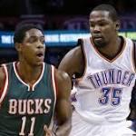 Durant leads Thunder past Bucks, 114-101