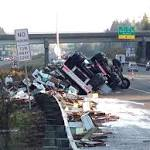Rolled semi spills millions of bees at the I-5 and I-405 interchange