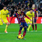 Neymar sends Barca over Villareal; Real Madrid draws