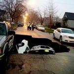 1 hospitalized after Chicago sinkhole swallows 3 cars - USA Today