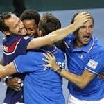 Switzerland, Italy, France reach Davis Cup semis