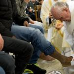 April 2: Pope Francis washing the feet of the poor, and David Letterman