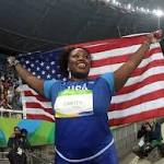 Michelle Carter wins gold in women's shot put, first ever for USA in event