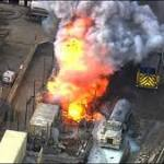 Dozens treated as danger falls from chemical fire