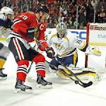 Marian Hossa shows little rust in practice