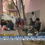 Shoppers camp out for deals on Thanksgiving Day