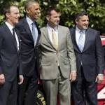 President Obama welcomes Sprint Cup champion Kevin Harvick to White House