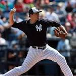 Yankees pitcher Natahan Eovaldi has a ball in return to mound