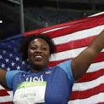 Michelle Carter makes history with Olympic shot-put gold