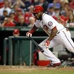 Denard Span, Nationals batter Reds' Johnny Cueto