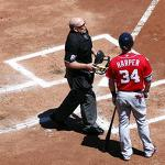Bryce Harper and the umpire with rabbit ears